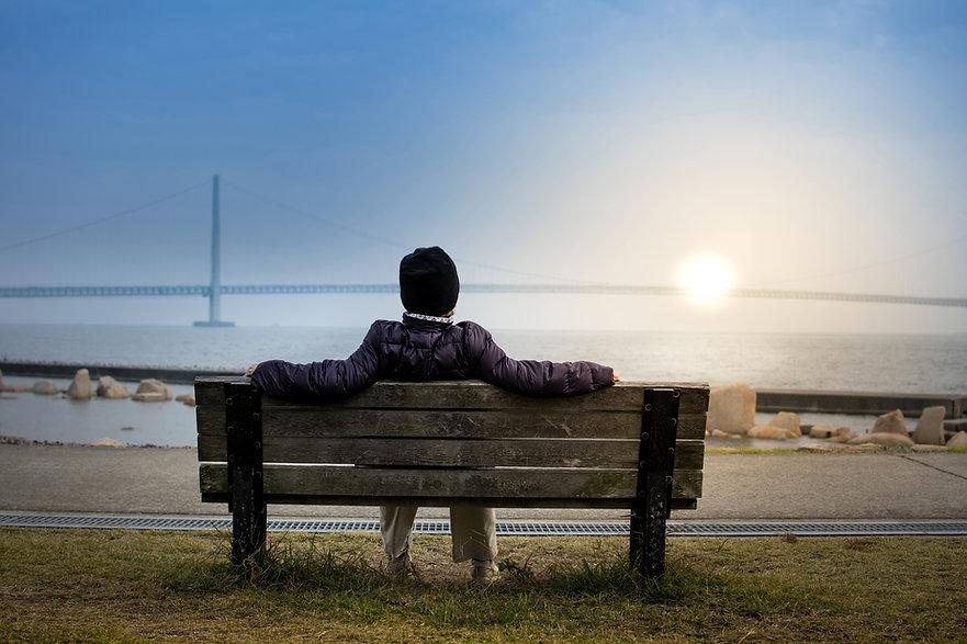 Sonnenuntergang auf der Bank