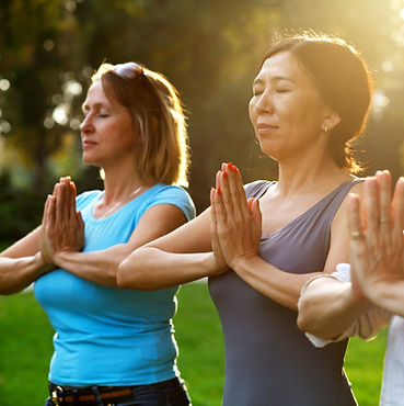 Yoga in Museum Square in Downtown Woodstock