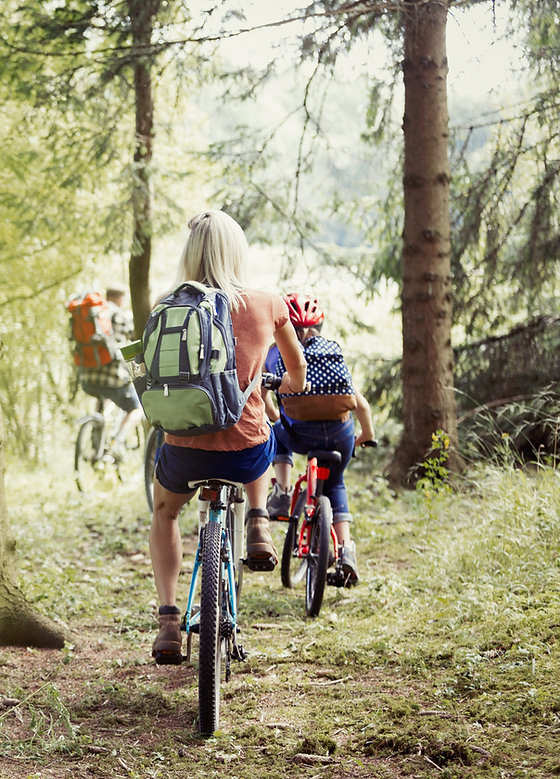 Family Cycling in Woods
