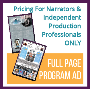 Full Page Program Ad (ONLY for Narrators & Indie Professionals)