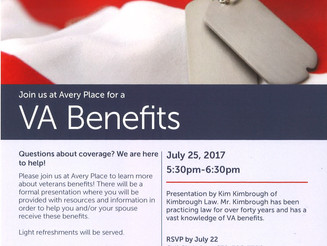 Kim Kimbrough to Present VA Program at Avery Place on July 25
