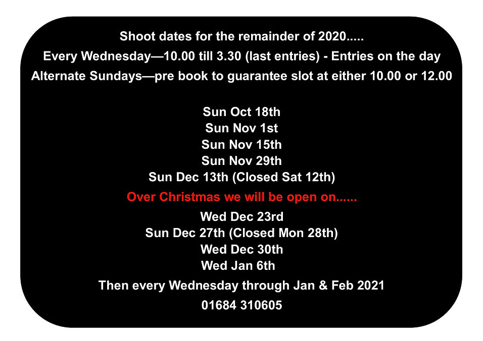 2020 end of year dates plus Christmas -