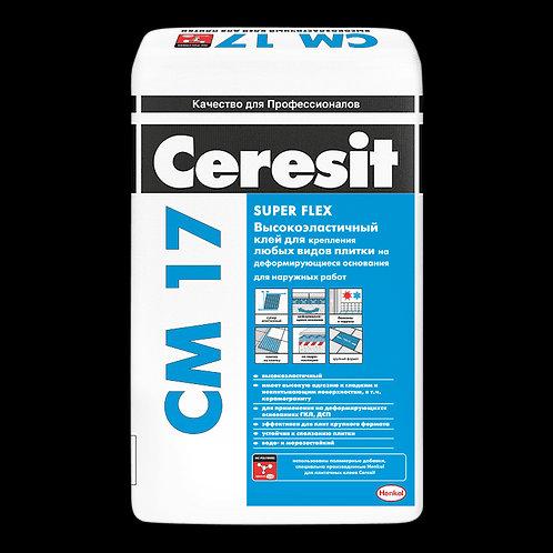 Эластичный клей для плитки и керамогранита Церезит водо- и морозостойкий, 25кг
