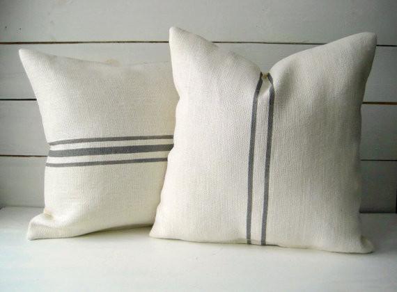 ivory grey etsy pillows