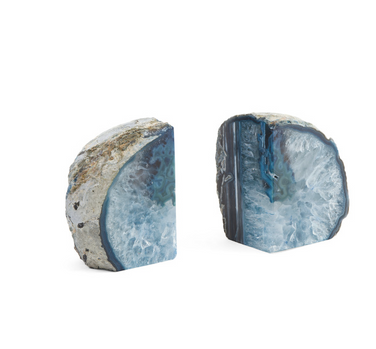 blue natural agate bookend set