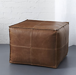 brown square leather pouf