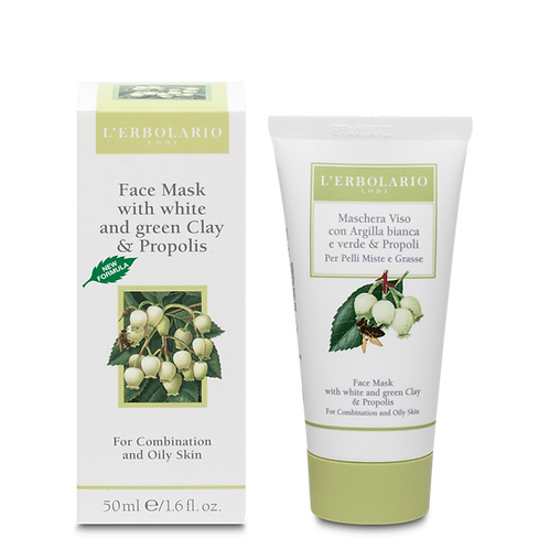 Face Mask with White and Green Clay and Propolis