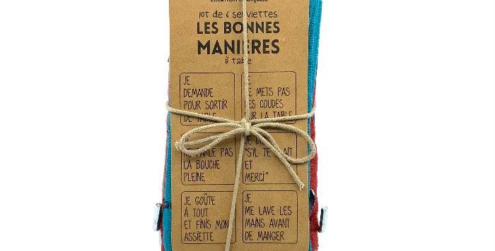 Lot 6 Serviettes Les Bonnes Manières, Sophie Janiere