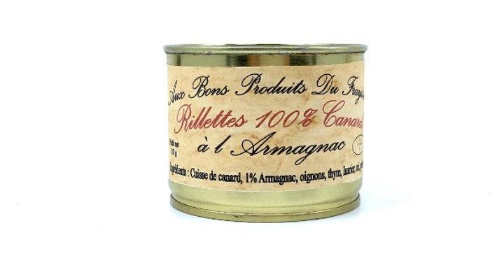 Rillettes 100% Canard à l'Armagnac, 180g, Aux Bons Produits du Fraysse