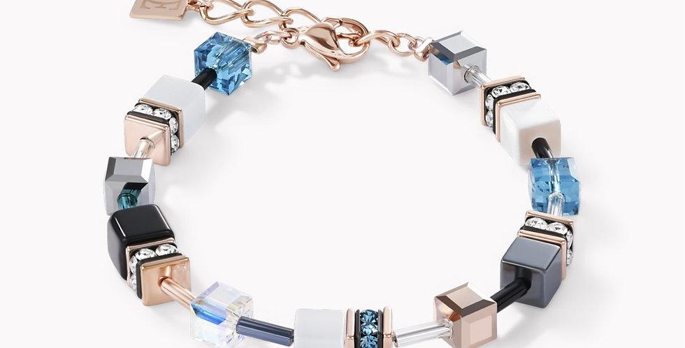 Bracelet Geo Cube Or Rose Blanc Et Pétrole, Coeur De Lion