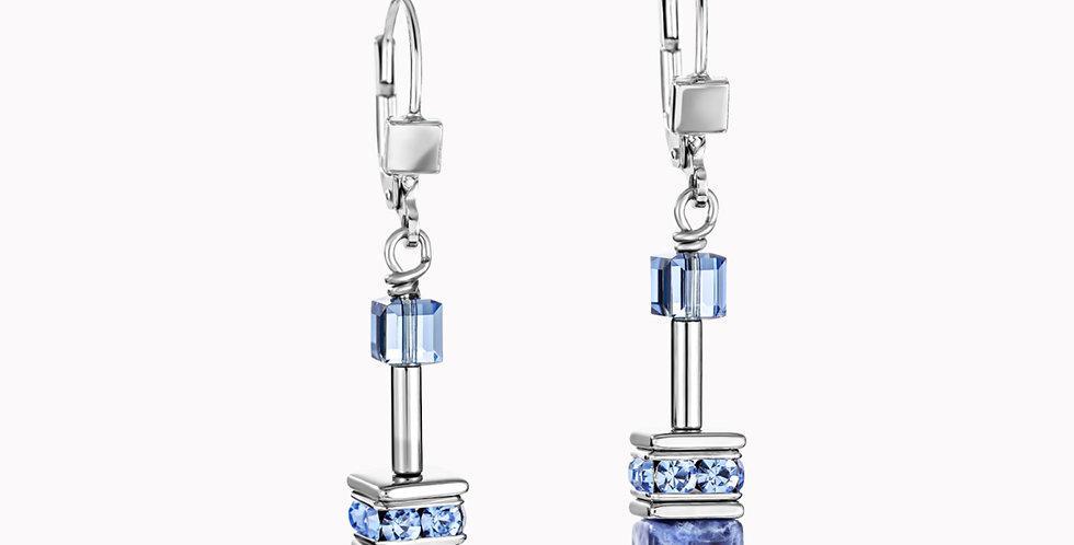 Boucles D'Oreilles Geo Cube Sodalite Et Hématite Bleu, Coeur De Lion