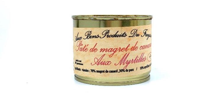 Pâté de Magret de Canard aux Myrtilles, 180g, Aux Bons Produits du Fraysse