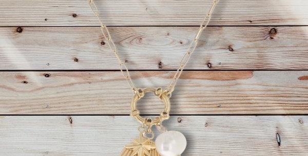 Collier Étoile Perle D'eau Douce Doré Acier