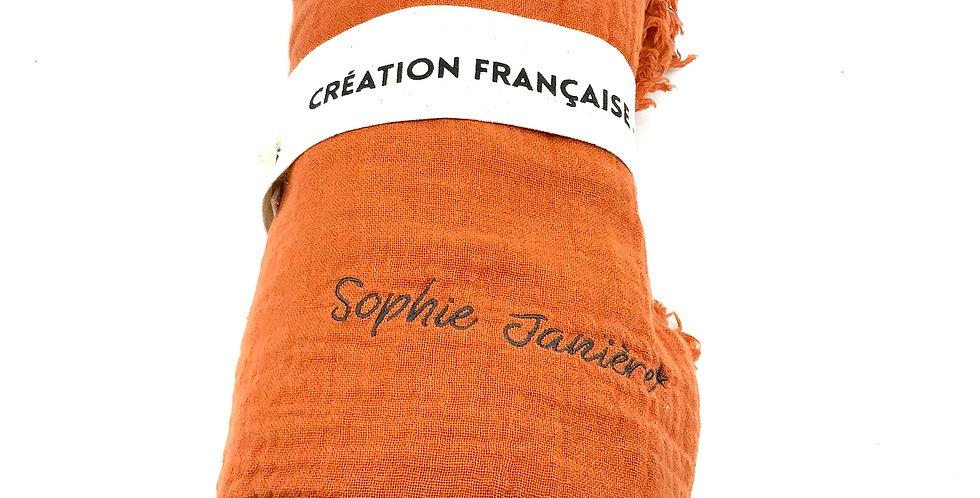 Plaid Double Coton Rouille, Sophie Janière.