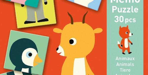 Mémo 30Pcs Animo Puzzle, Djeco