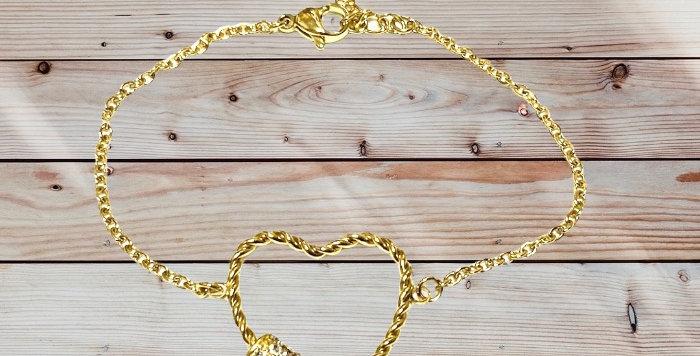 Bracelet Coeur Doré Strass