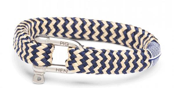 Bracelet Corde Navy/Sand L, Pig & Hen
