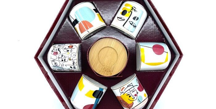 Coffret 6 Tasses Café+Soucoupes Bambou Modernisme, Easy Life