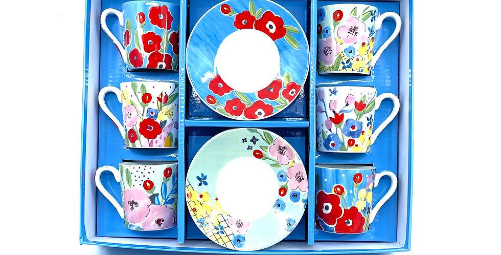 Coffret 6 Tasses+Sous Tasses Plein Air, Easy Life