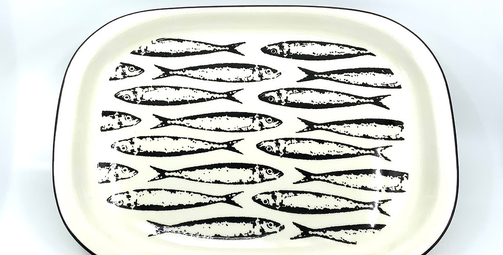 Plat Rectangulaire Petites Sardines Noir, Duro