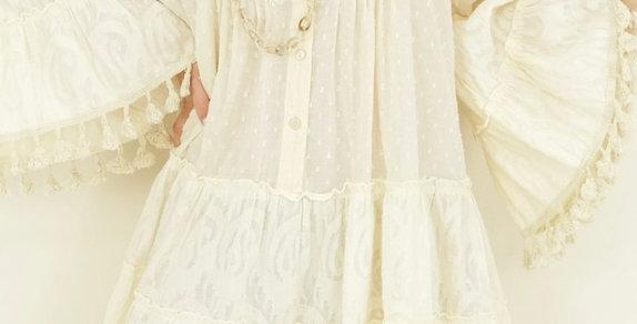 Robe Pompons Hilda Beige