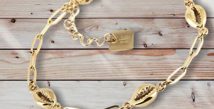 Bracelet CoquillagesDoréAcier, Zag