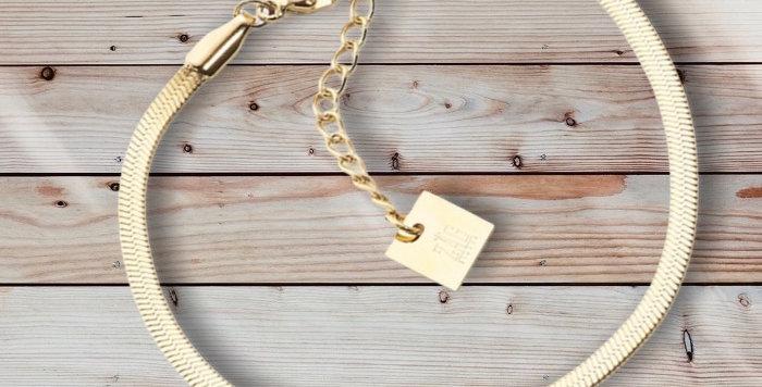 Bracelet Maille PlateDoréAcier, Zag