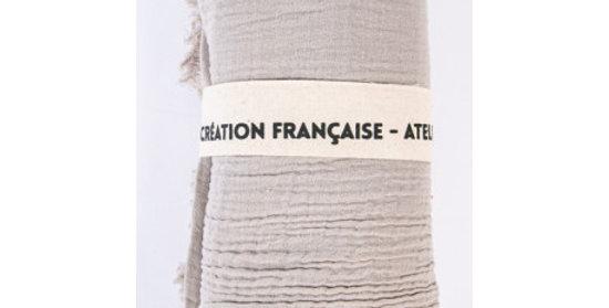 Plaid Double Coton Gris Ficelle, Sophie Janière