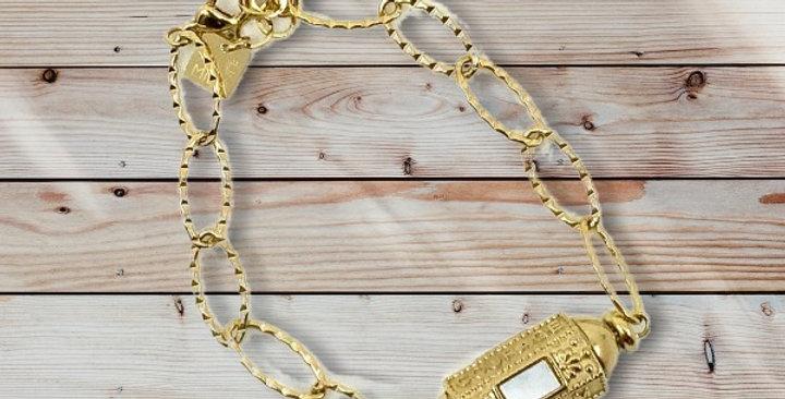 Bracelet Cylindre Blanc NacreDoré Acier