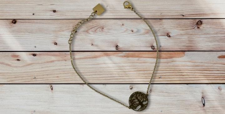 Bracelet Arbre De Vie Doré Acier