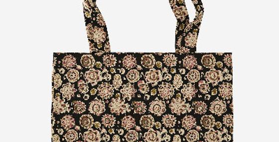 Tote Bag Noir Fleuri, Madam Stoltz