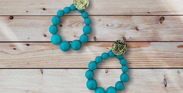 Boucles D'oreilles Résine Vert Turquoise/Doré Acier