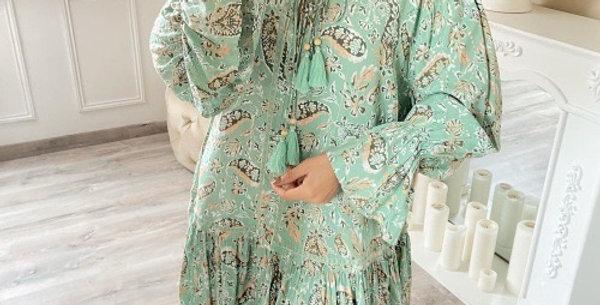 Robe Pompons Imprimée Cachemire