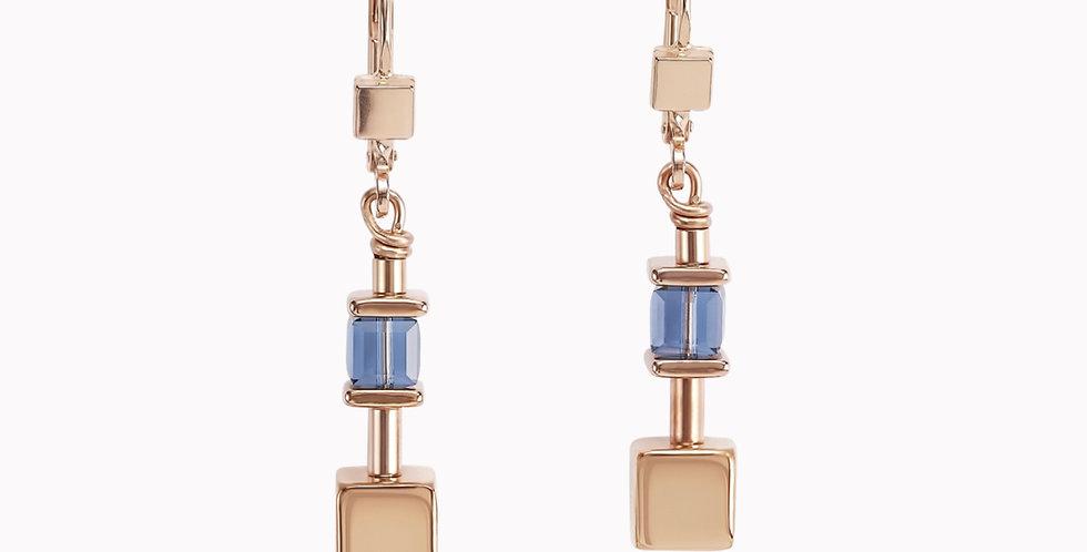 Boucles D'Oreilles Geo Cube Chaîne Bleu, Coeur De Lion