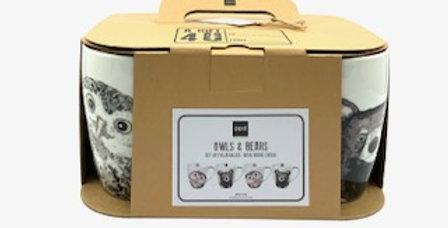 Pack 4 Mugs Owls&Bears, Porcelaine, PPD