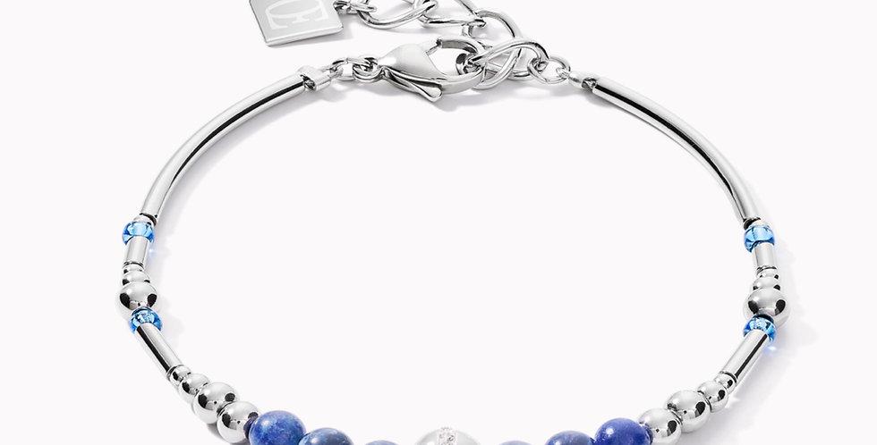 Bracelet Boules Acier Silver Blue, Coeur De Lion