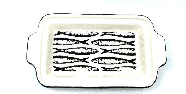 Plat Pm Rectangulaire Petites Sardines Noir, Duro