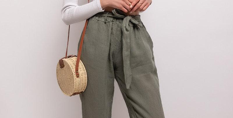 Pantalon Lin Kaki