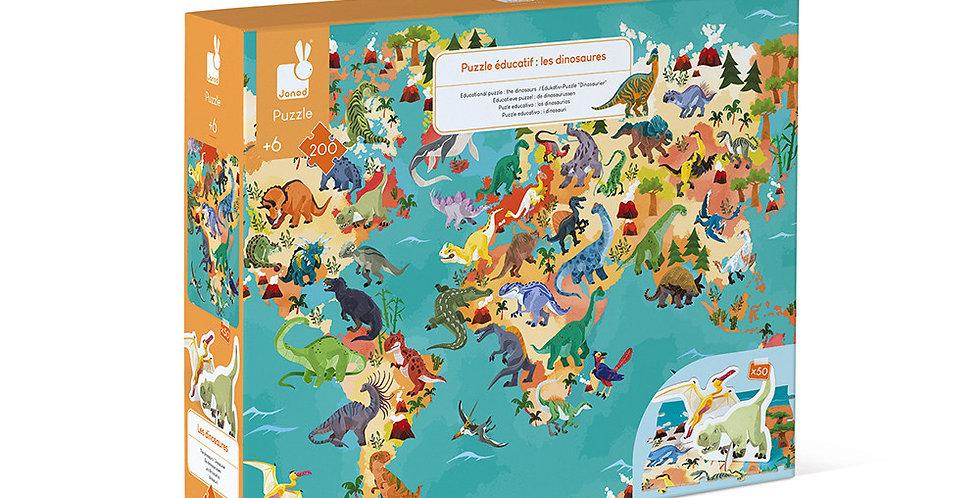 Puzzle 200Pcs Les Dinosaures, Janod