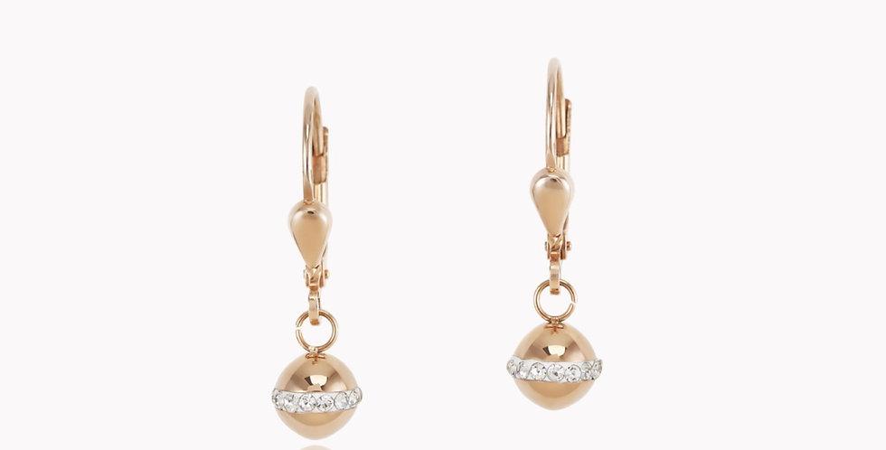 Boucles D'oreilles Boule Acier Rosé Gold, Coeur De Lion