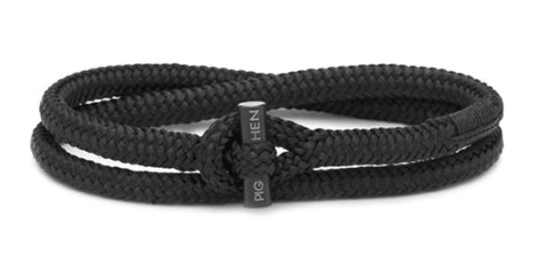Bracelet Corde Tiny Black L, Pig & Hen