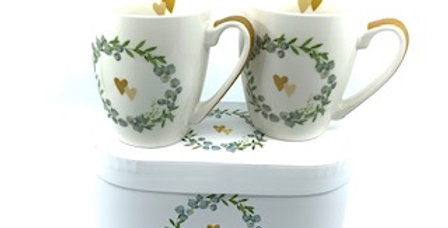 Coffret 2 Mugs Two Hearts, Porcelaine, PPD