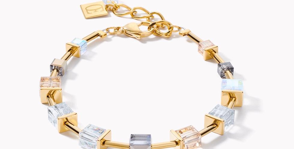 Bracelet Geo Cube Acier Or Gris, Coeur De Lion