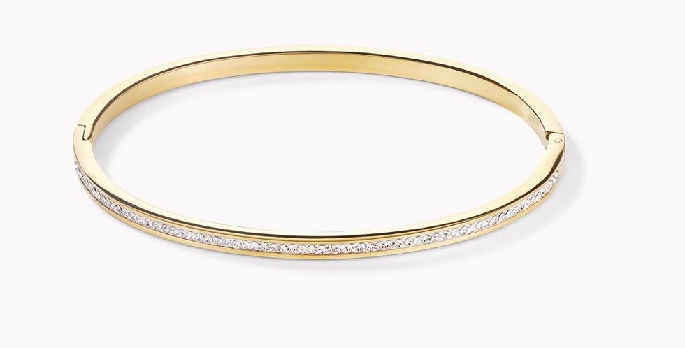 Bracelet Acier Or&Pavé De Cristaux, Cœur De Lion