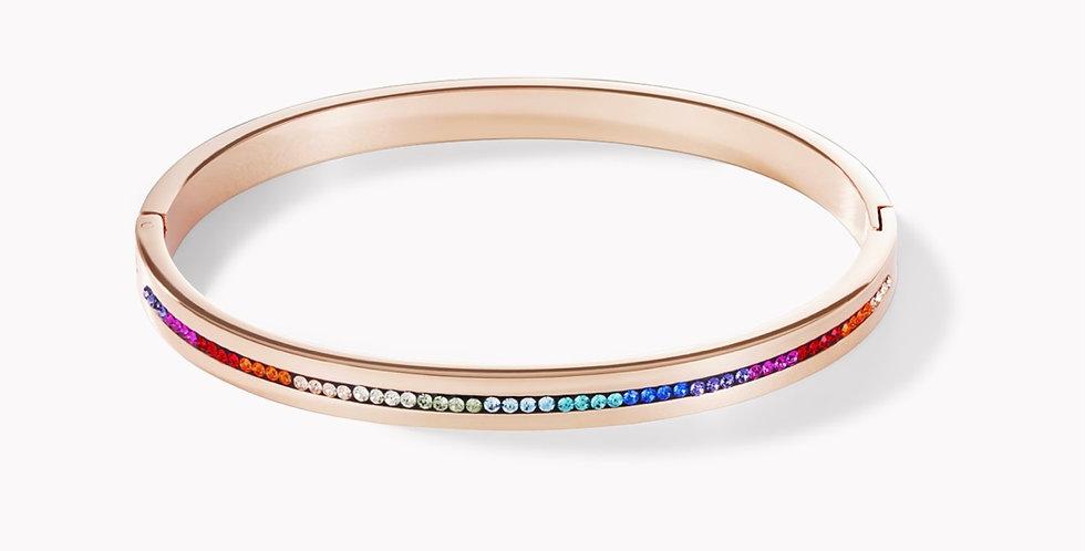 Bracelet Acier Or Rose&Pavé De Cristaux Multicolores, Coeur De Lion