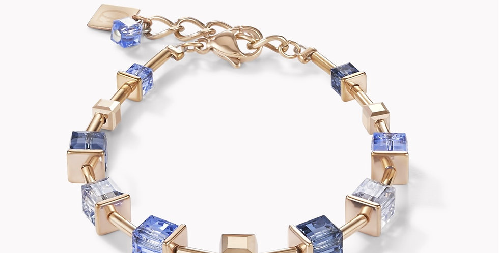 Bracelet Monochrome Blue Acier Or Rose, Coeur De Lion