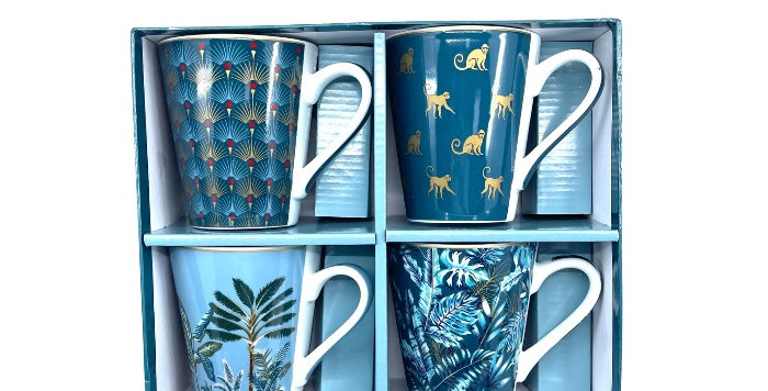 Coffret 4 Mugs Mania Jungle, Easy Life