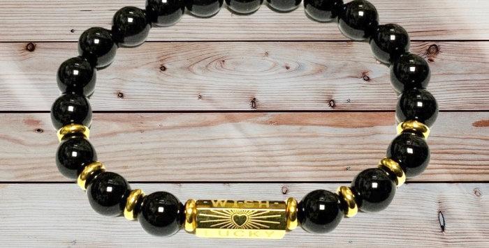 Bracelet Pierre Naturelle Onyx Porte Bonheur