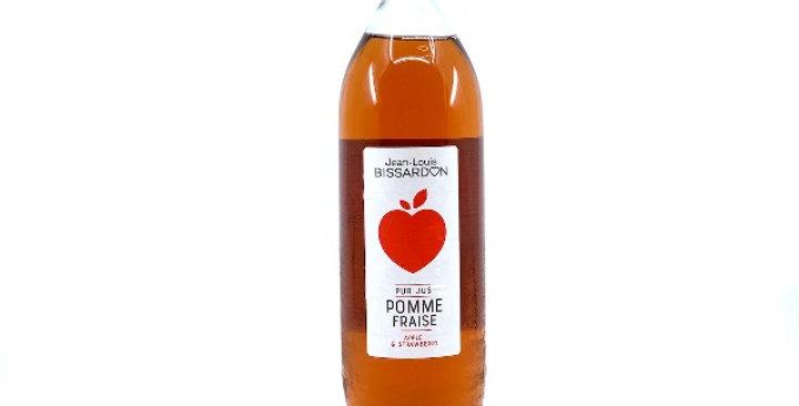 Jus Pomme Fraise, 100% Pur Jus, 1L, Bissardon/3€50