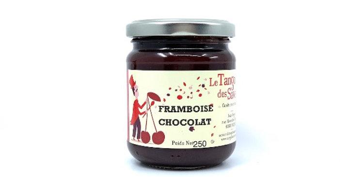Confiture Framboise Chocolat, 250g, Le Tango des Saveurs  Cette confiturerie art